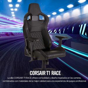Silla Gaming Corsair T1 Race Cuero PU-Ergonómica-Negro