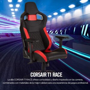 Silla Gaming Corsair T1 Race Cuero Pu Negro Con Rojo