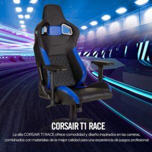 Silla Gaming Corsair T1 Race-Cuero PU-Ergonómica-Negro/Azul