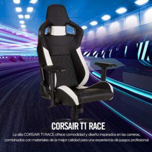 Silla Gaming Corsair T1 Race Cuero Pu Negro Con Blanco