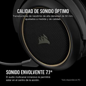 Audifonos Gamer CORSAIR HS70 PRO SURROUND Wireless – Crema