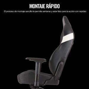 Silla Gaming Corsair T2 Road Warrior-Ergonómica-Cuero PU-Negro/Blanco
