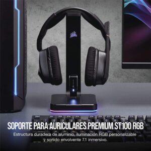 Soporte de Audifonos Gamer CORSAIR ST100 RGB Premium, con Sonido 7.1ch